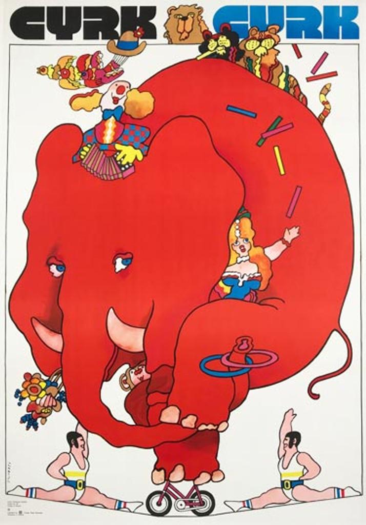 Cyrk - Elephant original 1970 vintage poster by Waldemar Swierzy circus advertisement .