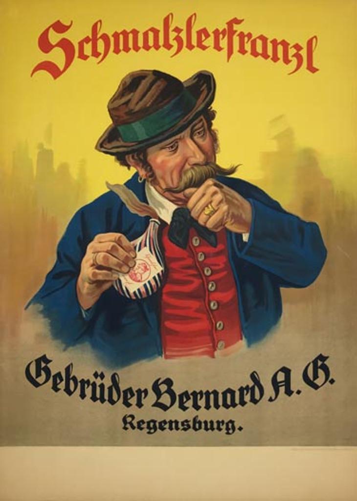 Schmalzlerfranzl Schnupftabak original vintage poster from 1930 Germany. German sniffing tobacco advertisement.
