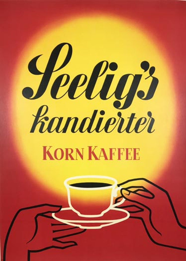 Korn Kaffee original vintage food poster by Walter Muller. German coffee product lithographic advertisement from 1960's.