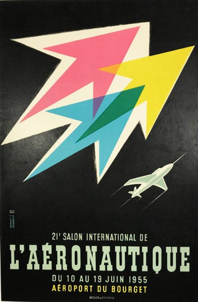 21st. Annual Salon International L Aeronautique original vintage aviation poster by Derouet Fromentier from 1955 France.