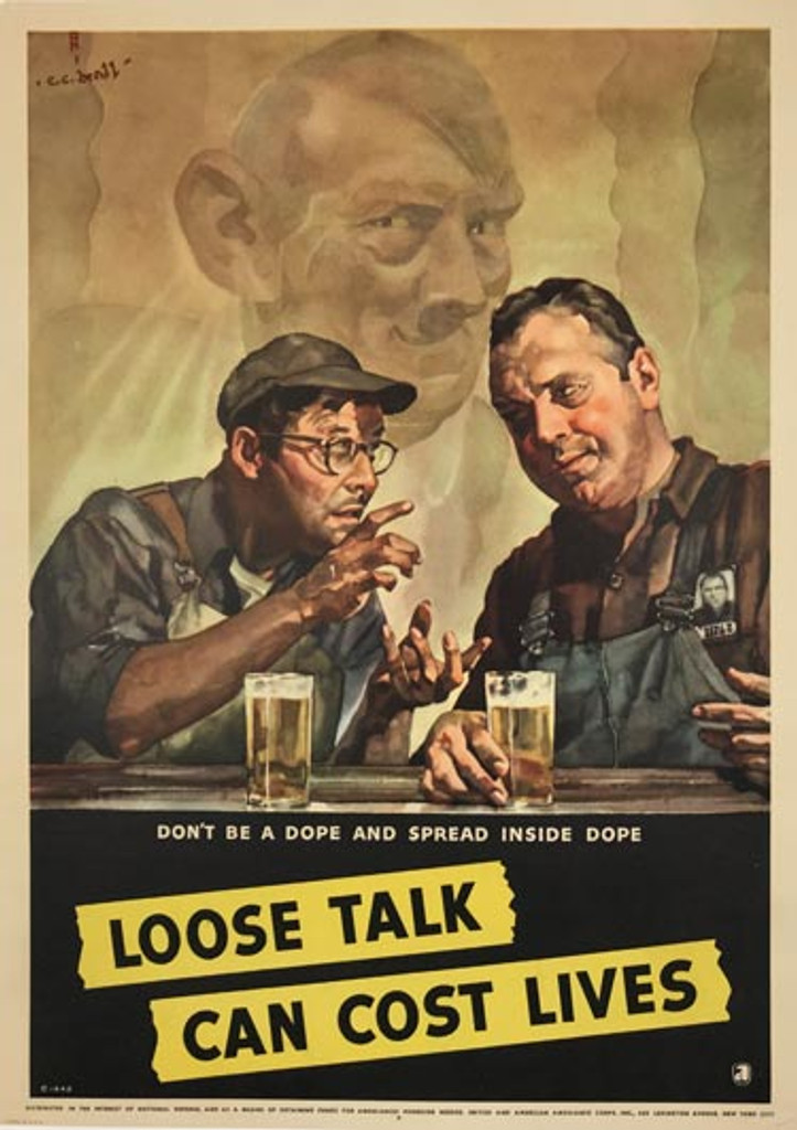 Loose Talk Can Cost Lives - Do not be a Dope original 1942 American vintage poster by C.C. Beall. World War 2 lithographic advertisement.