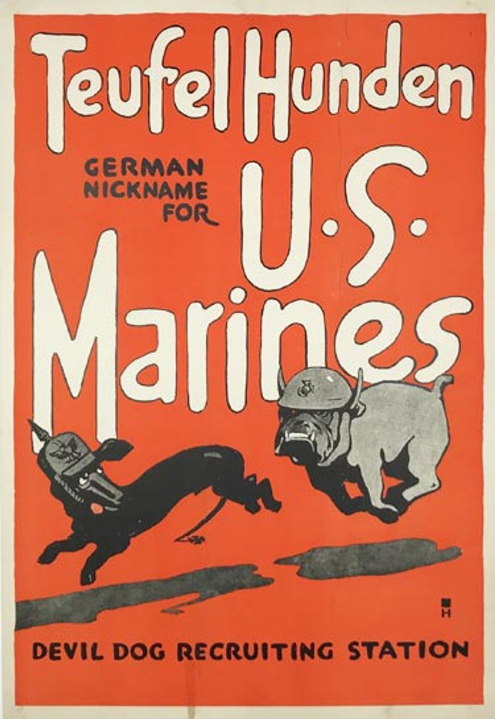 1917 U.S Marines TEUFEL HUNDEN original American vintage war poster from 1917 by Charles B Falls.