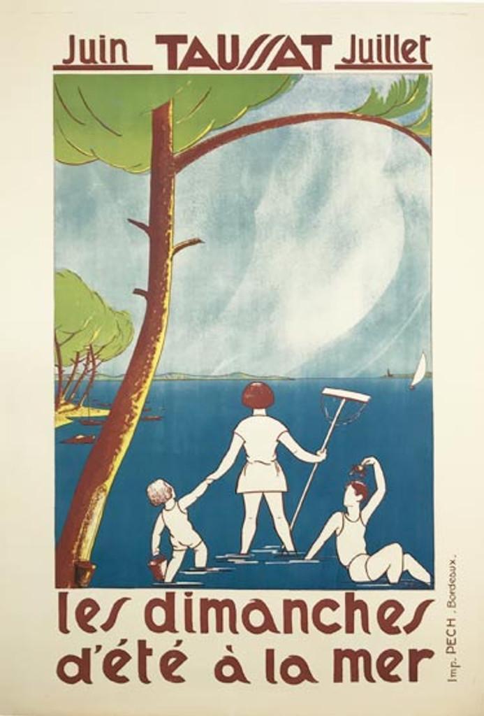French 1930 original travel poster by A. Digues Taussat Les Dimanches d ete a la mer