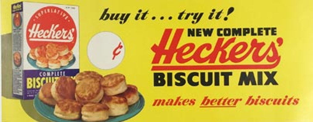 Heckers Biscuit Mix original American vintage food poster from 1950's.