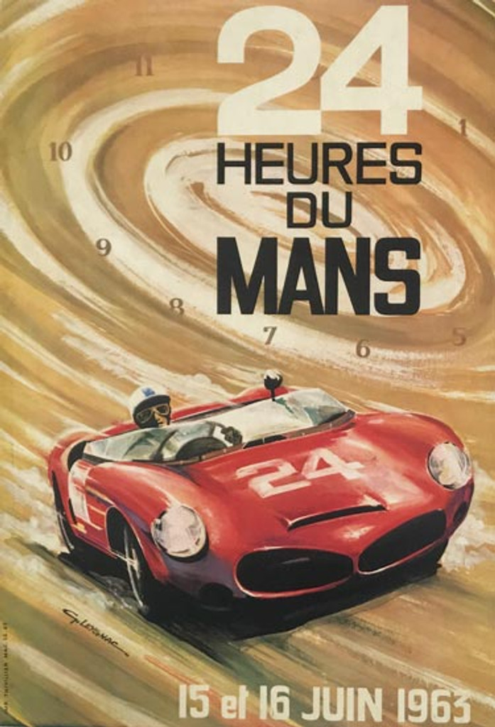 French 1963 24 Heures Du Mans original antique poster by G. Leygnac. French car racing advertisement.