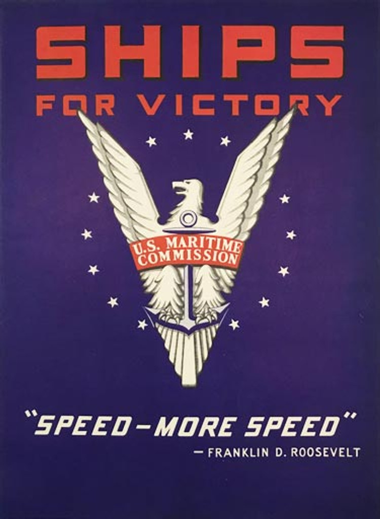 Ships For Victory Poster Speed More Speed original American vintage poster from 1942.