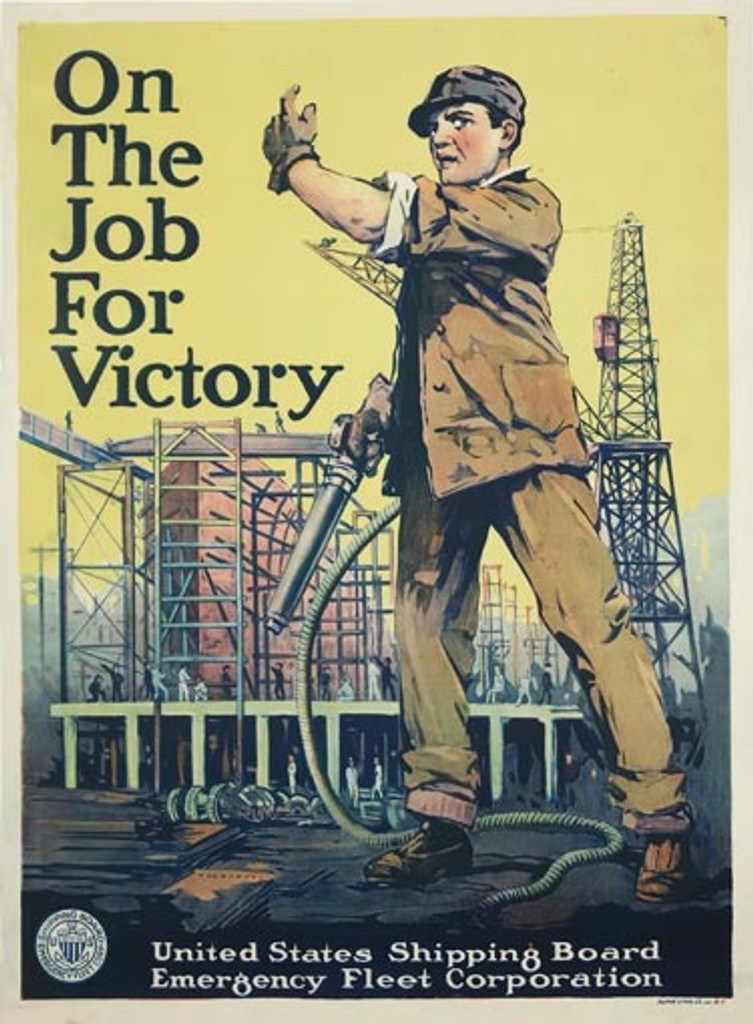 On The Job For Victory U.S. Shipping Board original American propaganda WWI vintage poster from 1917.