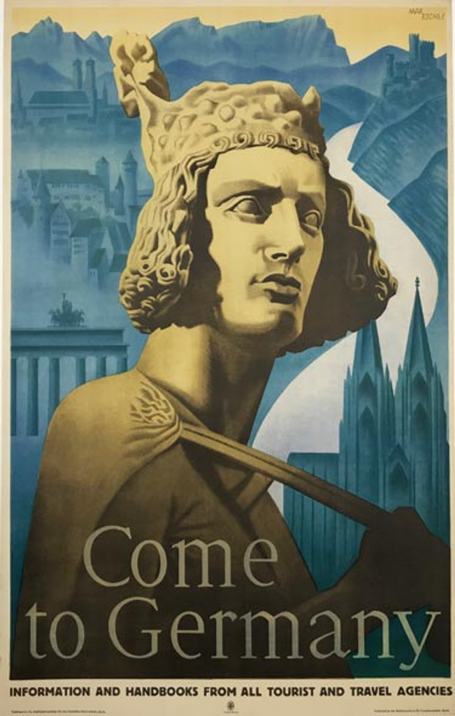 Come to Germany original vintage travel poster by Max Eschle from 1935.