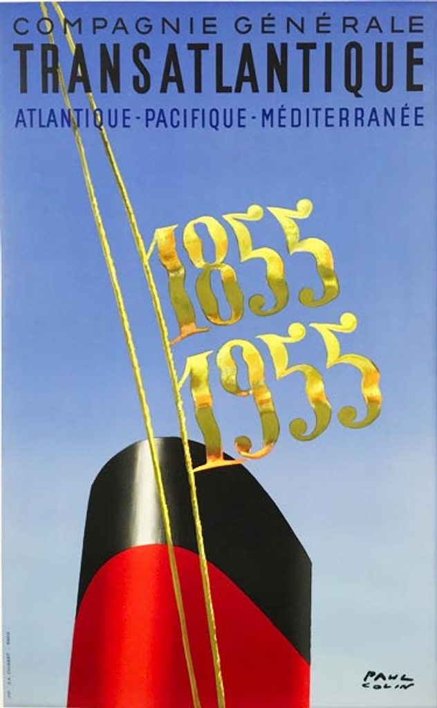 Compagnie Generale Transatlantique Centennial original vintage travel poster by Paul Colin from 1955 France.