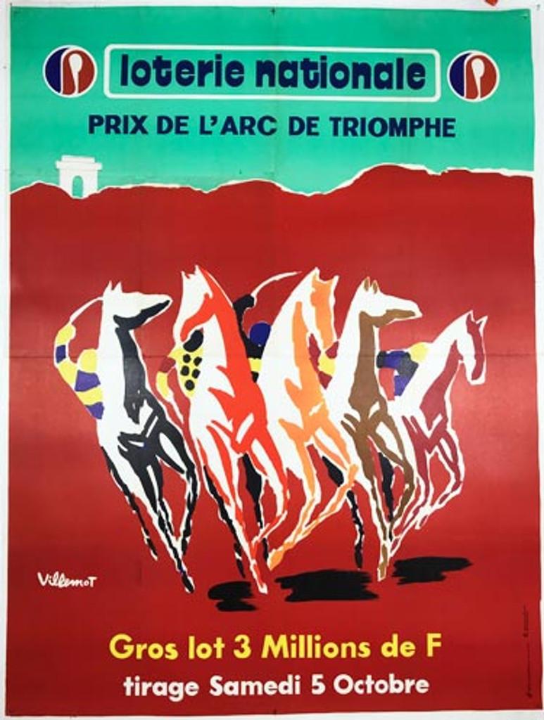Loterie Nationale Prix de L Arc de Triomphe original 1974 vintage poster by Bernard Villemot.