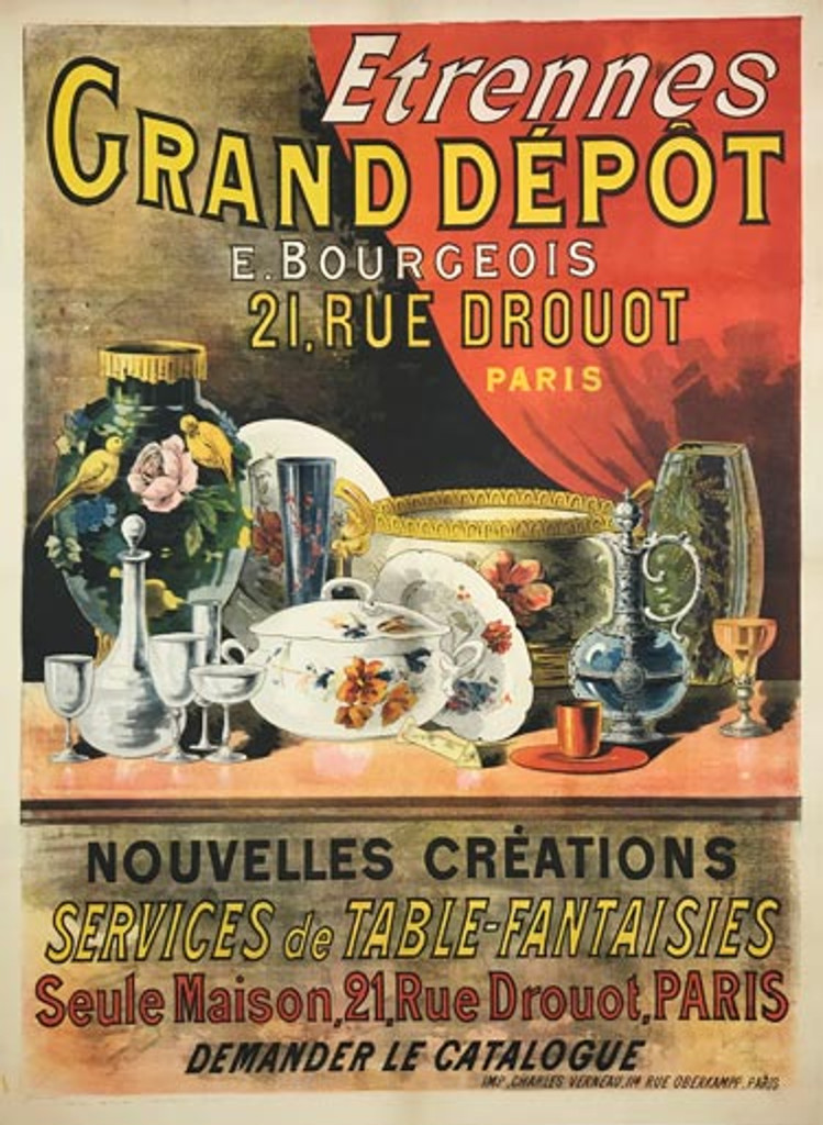 Etrennes Grand Depot E. Bourgeois original vintage poster from 1905 by Imp. Charles Verneau . French department store advertisement antique ad.