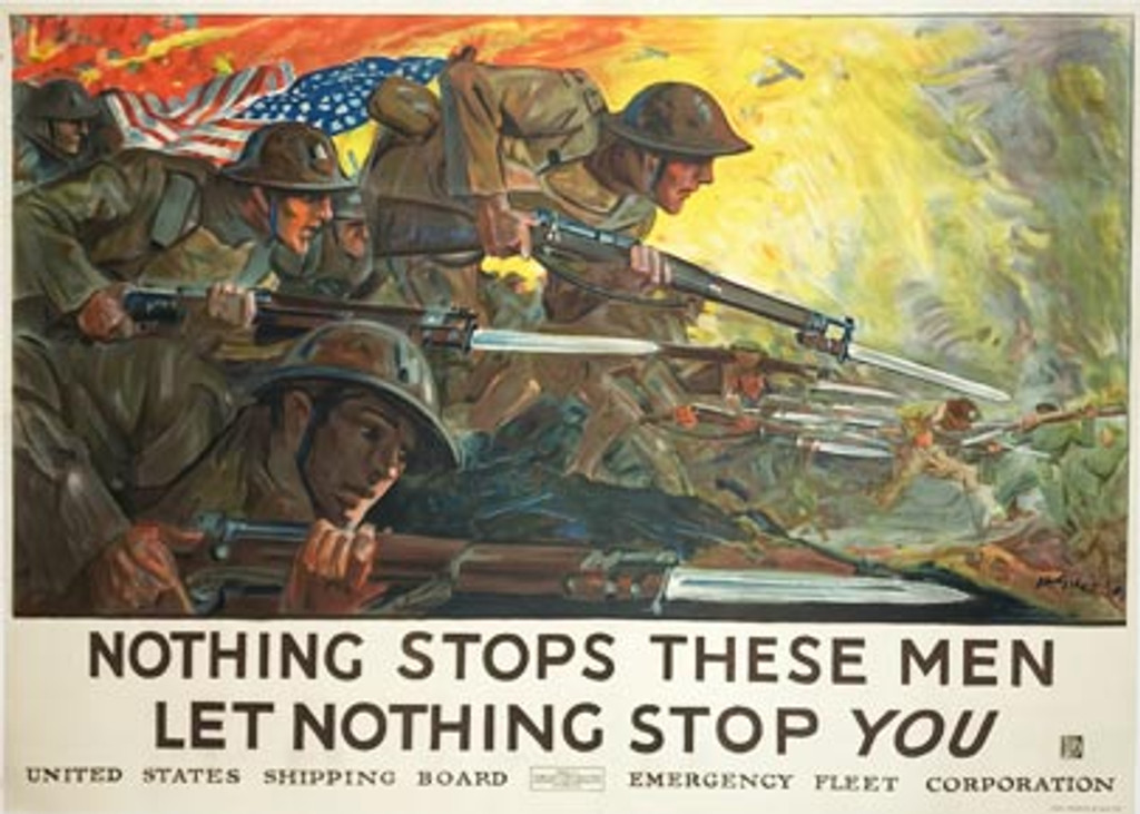 Nothing Stops These Men Let Nothing Stop You original WWI American vintage poster by Giles.