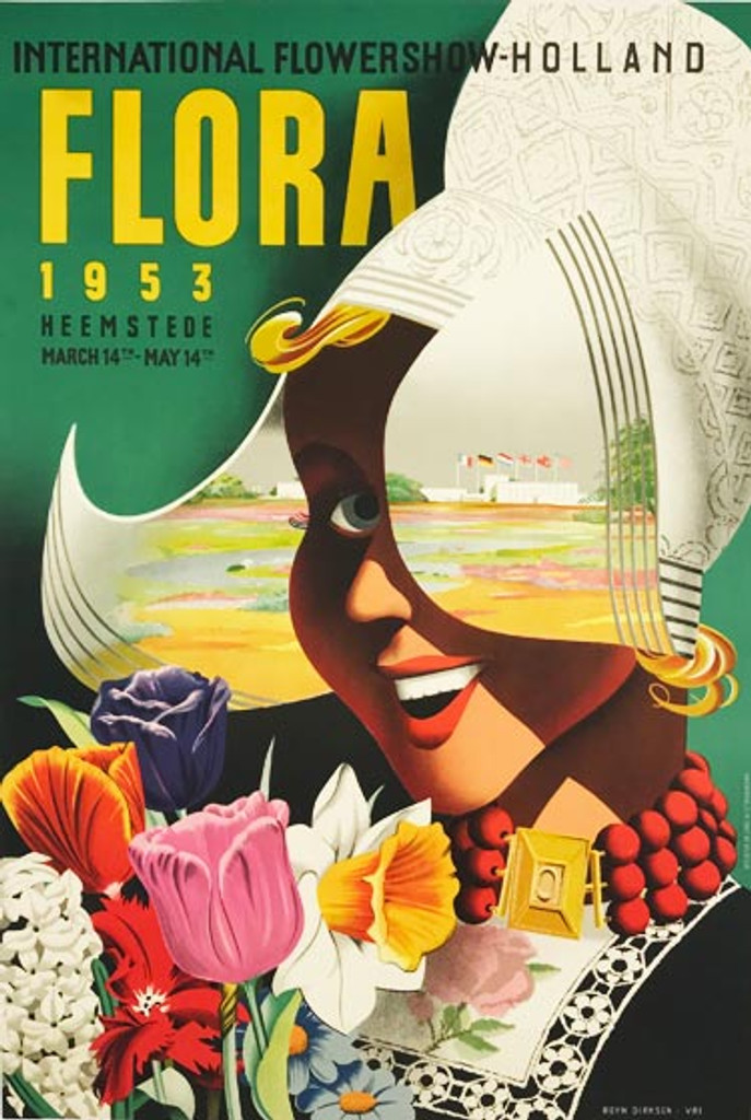 Flora International Flower Show Holland original 1953 vintage poster by Reyn Dirksen.