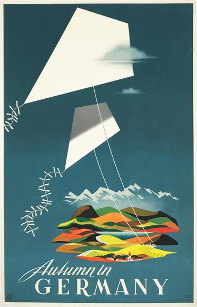Autumn in Germany original vintage travel poster from 1958 by Eckart.