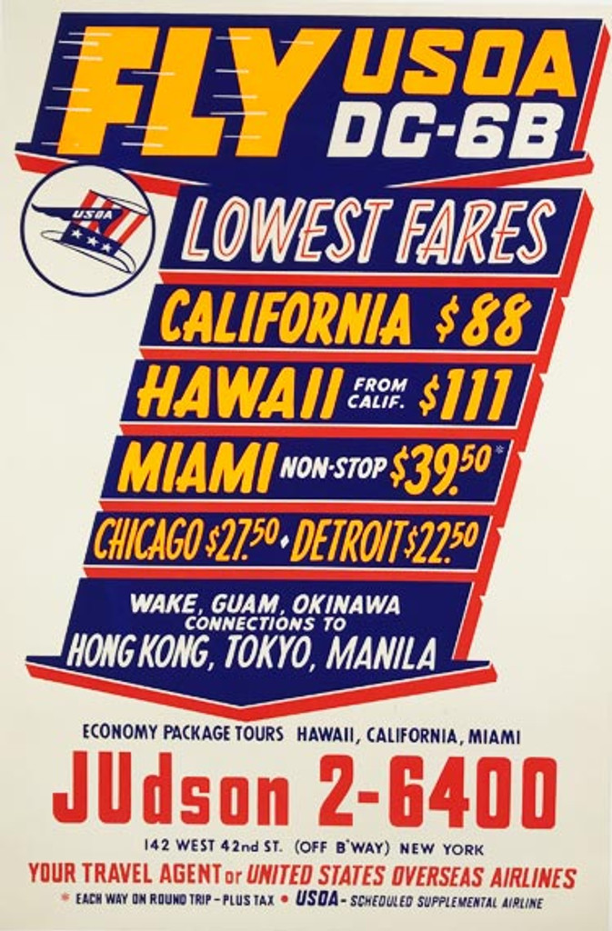 Fly United States Overseas Airlines DC-6B original American travel advertisement vintage poster from 1960.