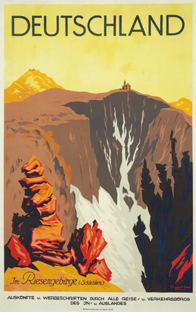 Deutschland in Riesengebirge original 1922 German travel poster by O. Van Hout Breslau.