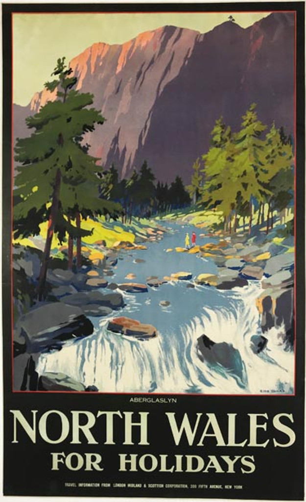 North Wales For the Holidays original British travel poster from 1930 by Ellis Silas.