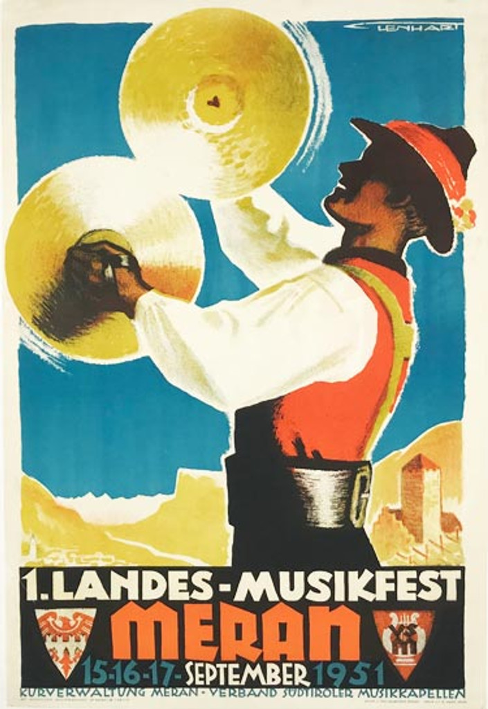 Meran original Italian travel poster from 1951 by Franz Lenhart. Italian music festival lithographic advertisement.