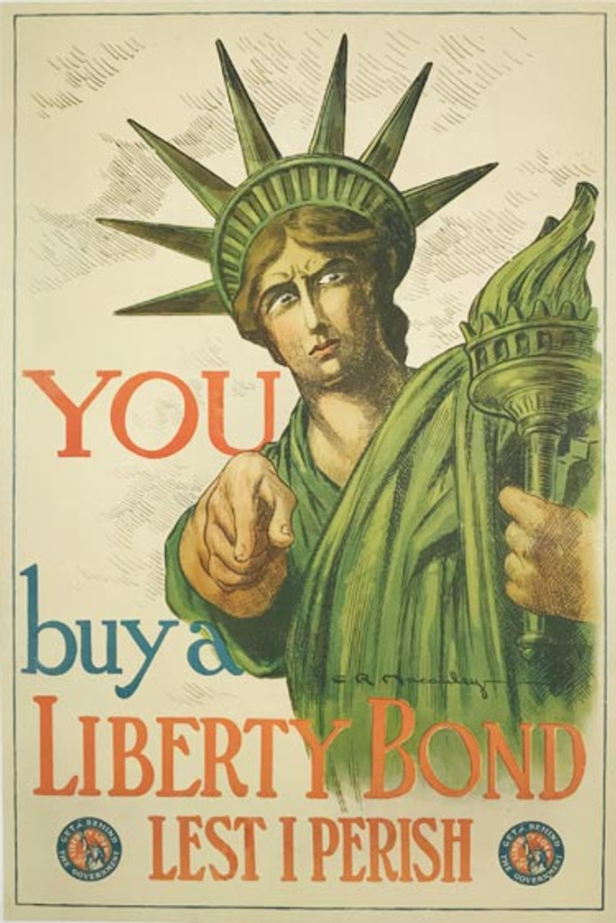 You buy a Liberty Bond Lest I Perish original 1917 American WWI vintage poster by C.R. Macauley.