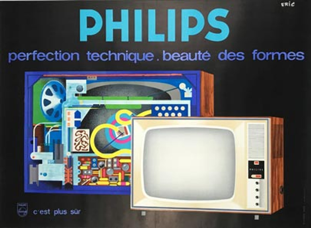 Philips original vintage poster by Eric from 1960 France. French radio advertisement antique poster.