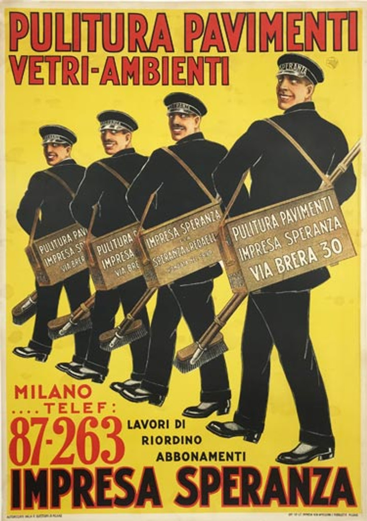 Pulitura Pavimenti Impresa Speranza original Italian vintage poster from 1925.