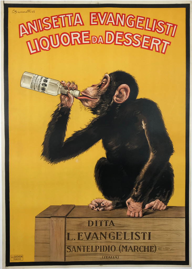 Anisetta Evangelisti drunk monkey original vintage poster from 1925 by Biscaretti. Italian wine and spirits poster features a monkey on a crate drinking from a bottle on a yellow background.