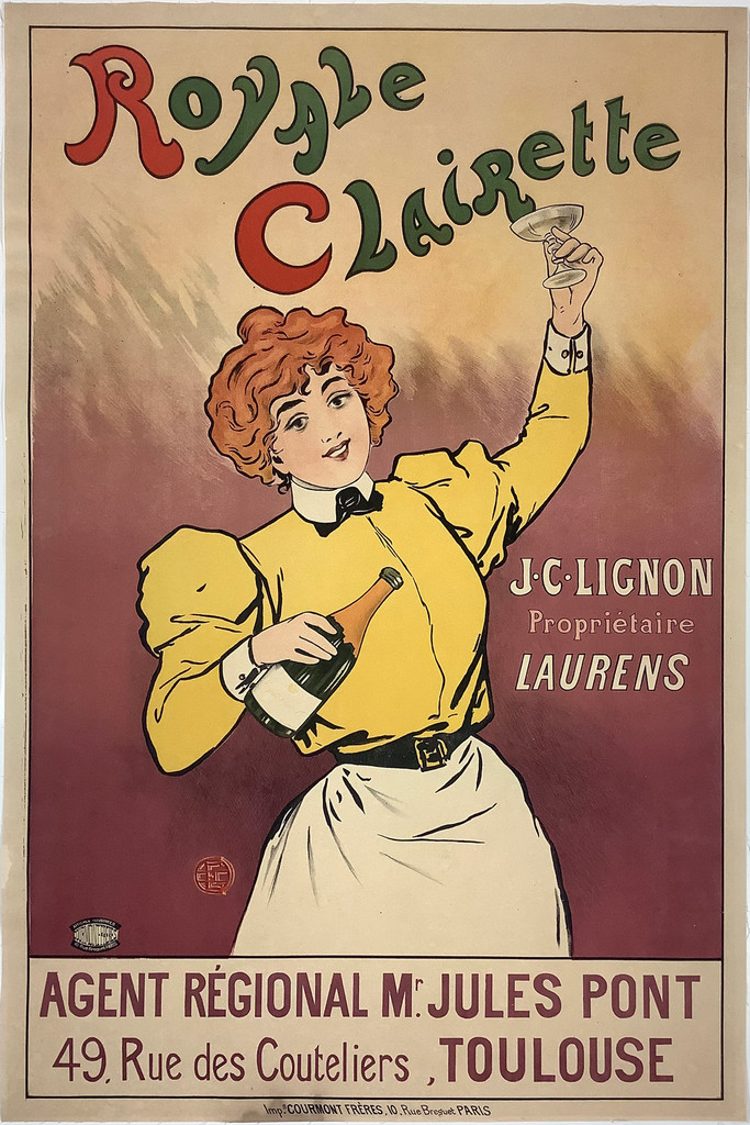 Royale Clairette Champagne original vintage poster from 1905 France by Henri Evenpoel.