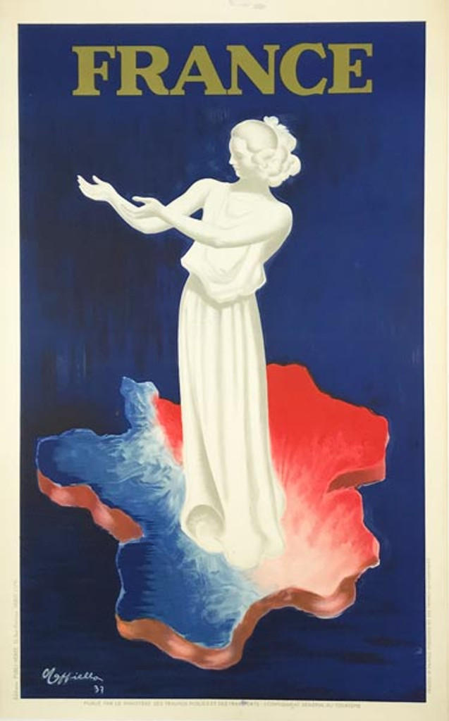France Leonetto Cappiello original vintage poster from 1937. Great art deco image with statue of woman in white standing on map of France.