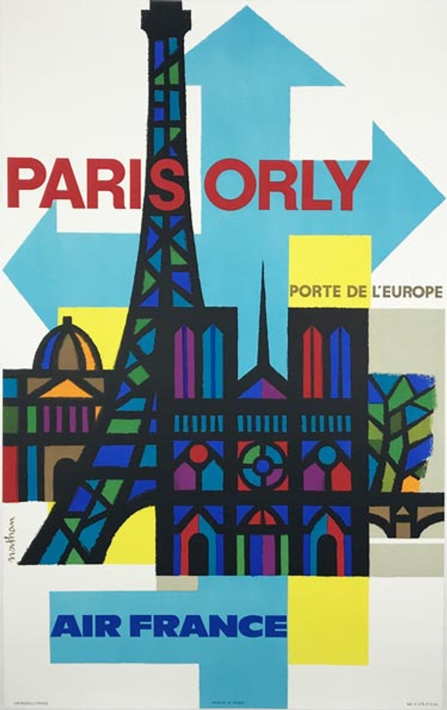 Air France Paris Orly original vintage travel poster by Nathan from 1962 France.
