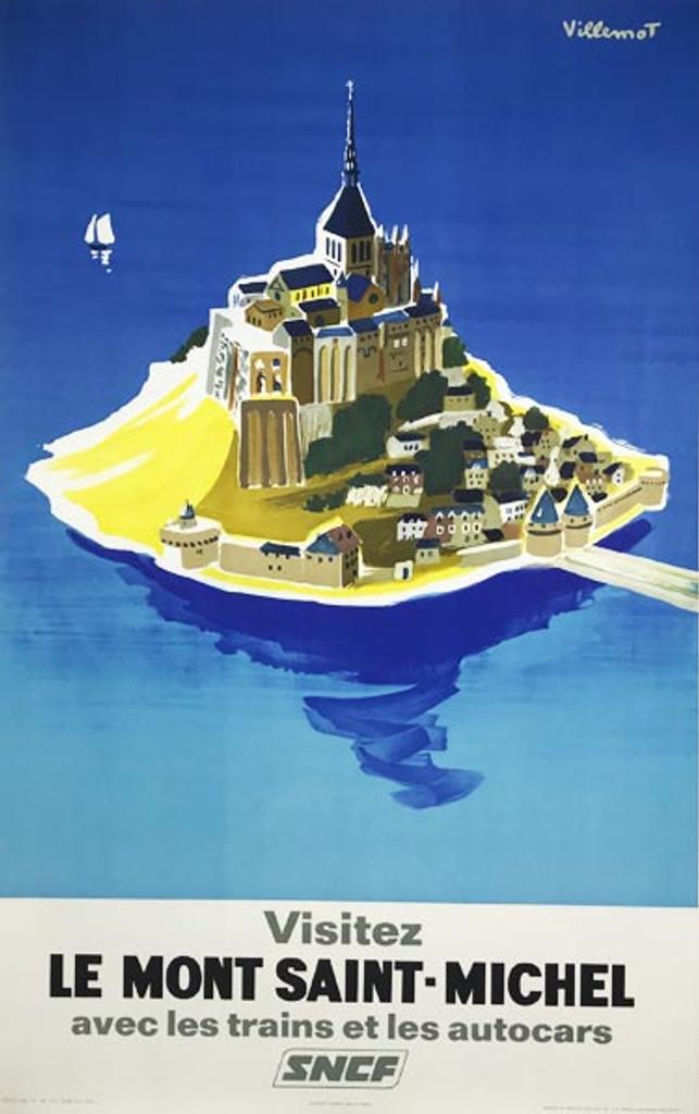 Visitez Le Mont Saint Michel original vintage travel poster from 1968 by Bernard Villemot.