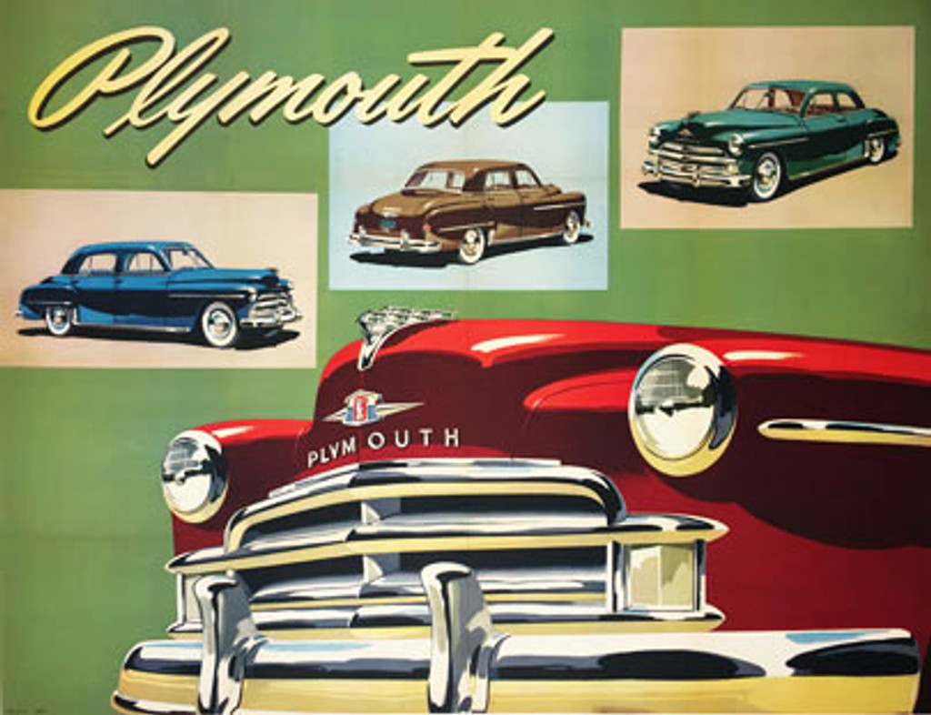 Plymouth original vintage 1950 American rare automotive advertisement antique poster.