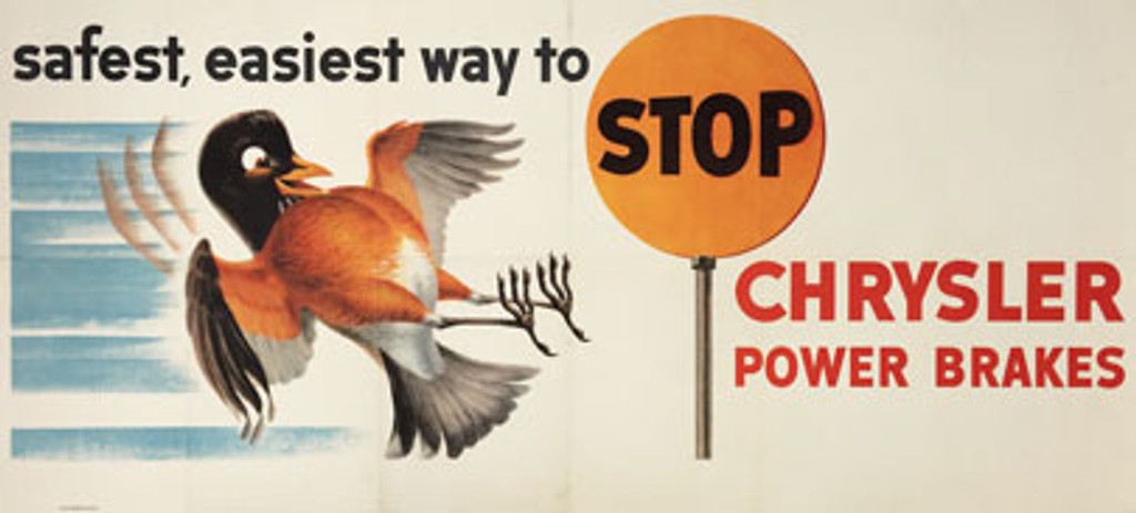 Chrysler Power Brakes safest, easiest way to stop original American automotive advertisement vintage poster by Scott Hamilton from 1950's.