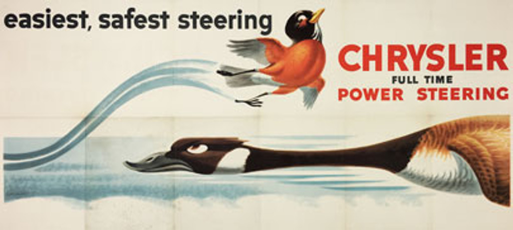 Chrysler Full Time Power Steering original 1950s American lithographic advertisement vintage poster by Scott Hamilton.