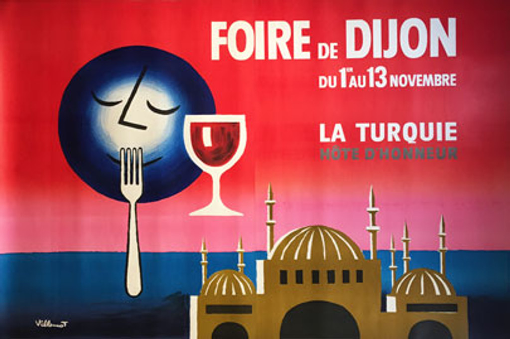 Foire de Dijon 2 sheet original vintage poster by B. Villemot features a blue moon over the water and red sky near a domed building with a fork up to its mouth and glass of wine next to him.