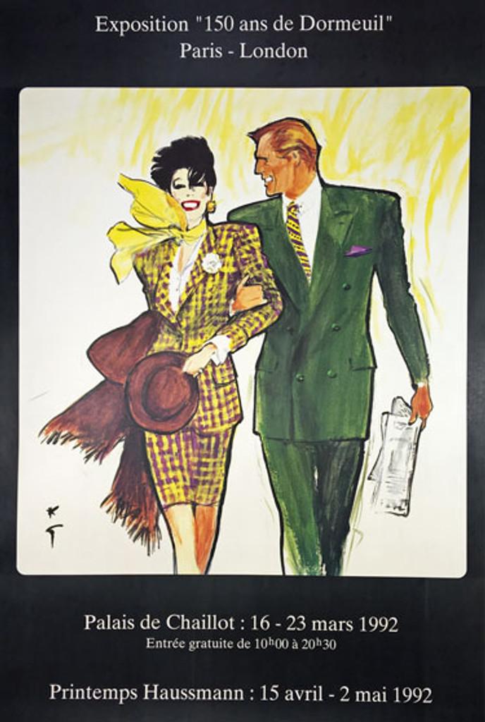Dormeuil Exposition Paris - London original 1992 lithographic advertisement vintage poster by Gruau.