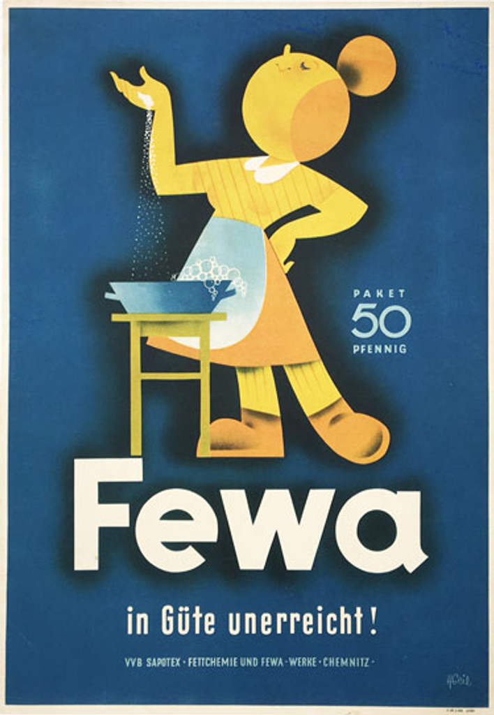 Fewa original German vintage poster from 1950 by H. Geil. French soap advertisement antique poster.