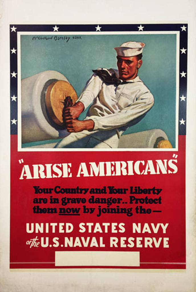 United States Navy of the U.S. Naval Reserve Arise Americans original vintage war war 2 poster from 1941 by McClelland Barclay. Rare Navy Advertisement.
