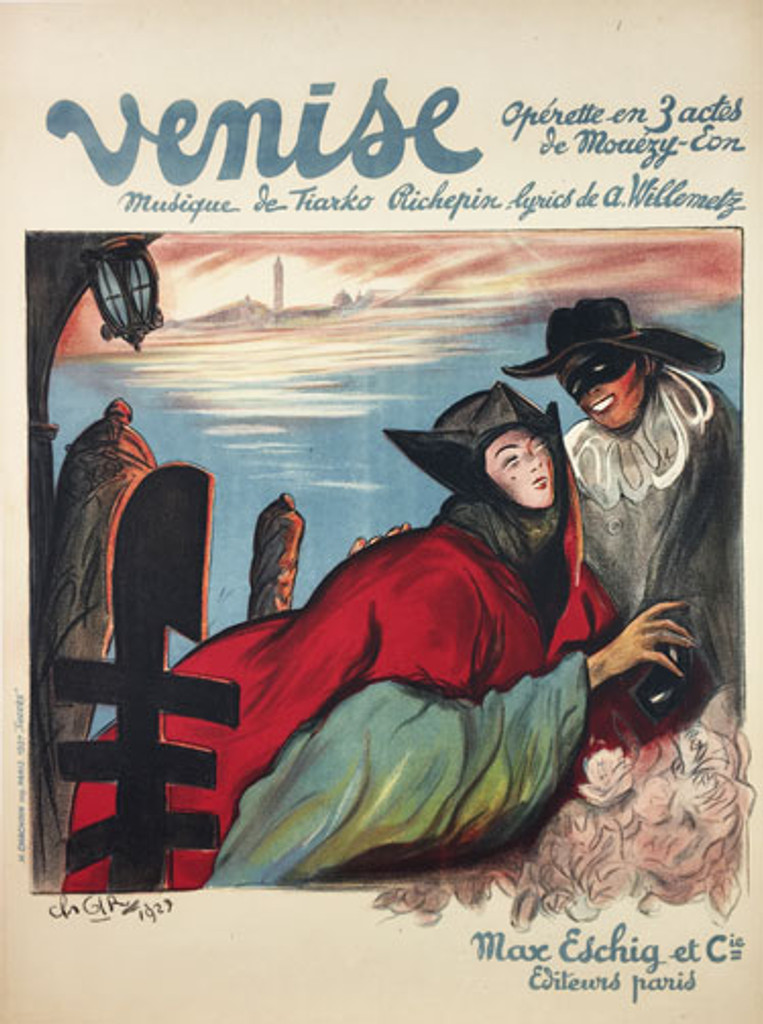 Venise Operette original vintage theater poster from 1927 by artist Ch. Girl.