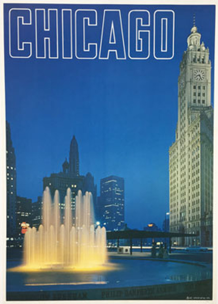 Chicago original travel poster from 1970 by Looart Colorado. Buckingham Fountain is a Chicago landmark in the center of Grant Park.