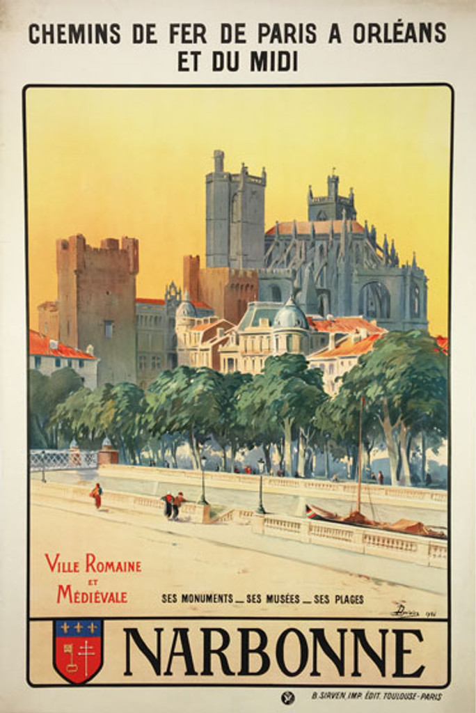 Narbonne original vintage travel poster by L. Duvivier from 1926 France. Features Aude River and Narbonne Cathedral in a background..