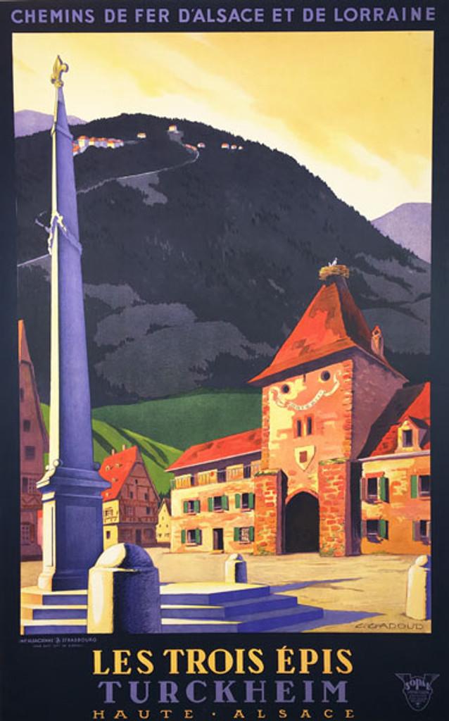 Les Trois Epis Turckheim original vintage poster by L. Gadoud from 1930 France.