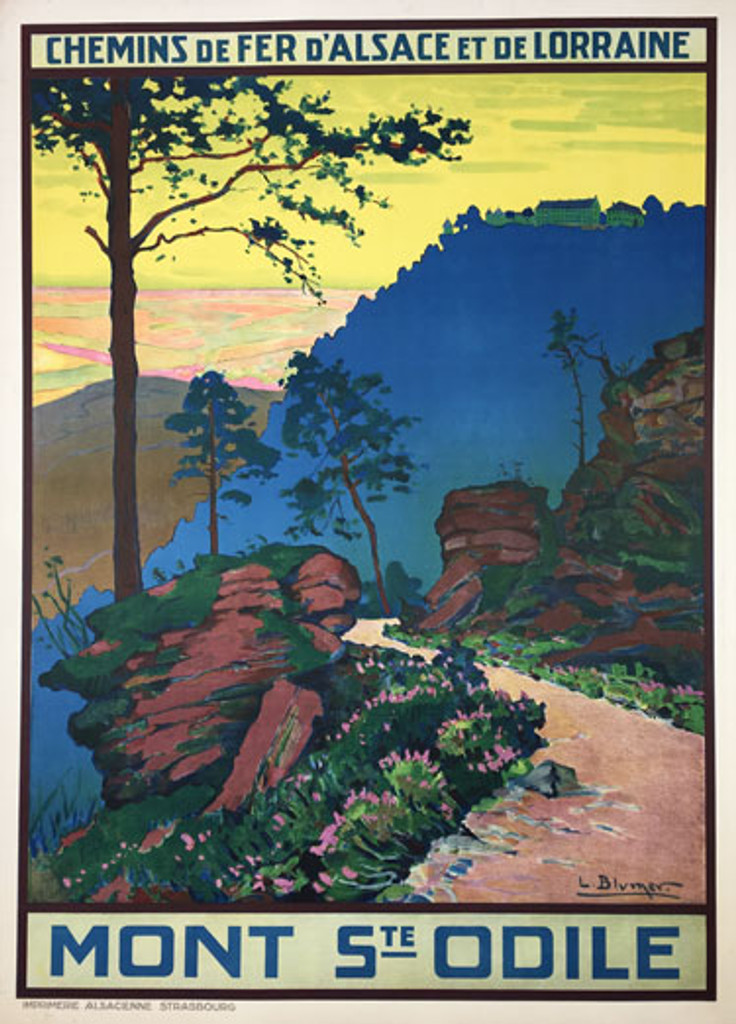 Mont Ste Odile original vintage travel poster by L. Blumer from 1930 France.