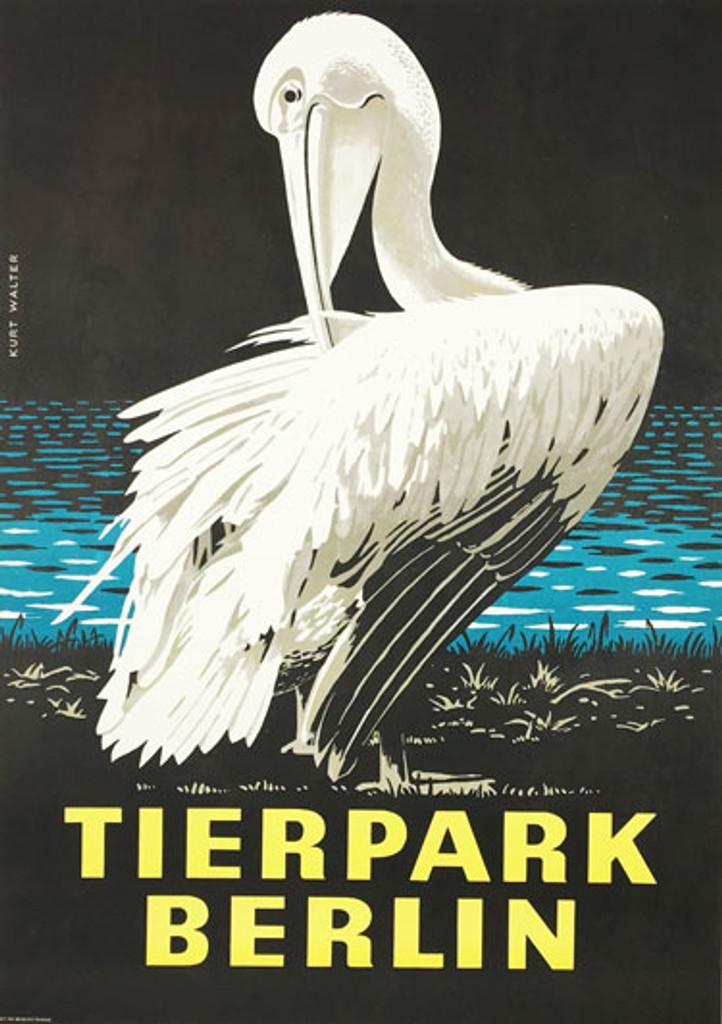 Tierpark Berlin original vintage travel poster from 1978 by Kurt Walter. German zoo advertisement.