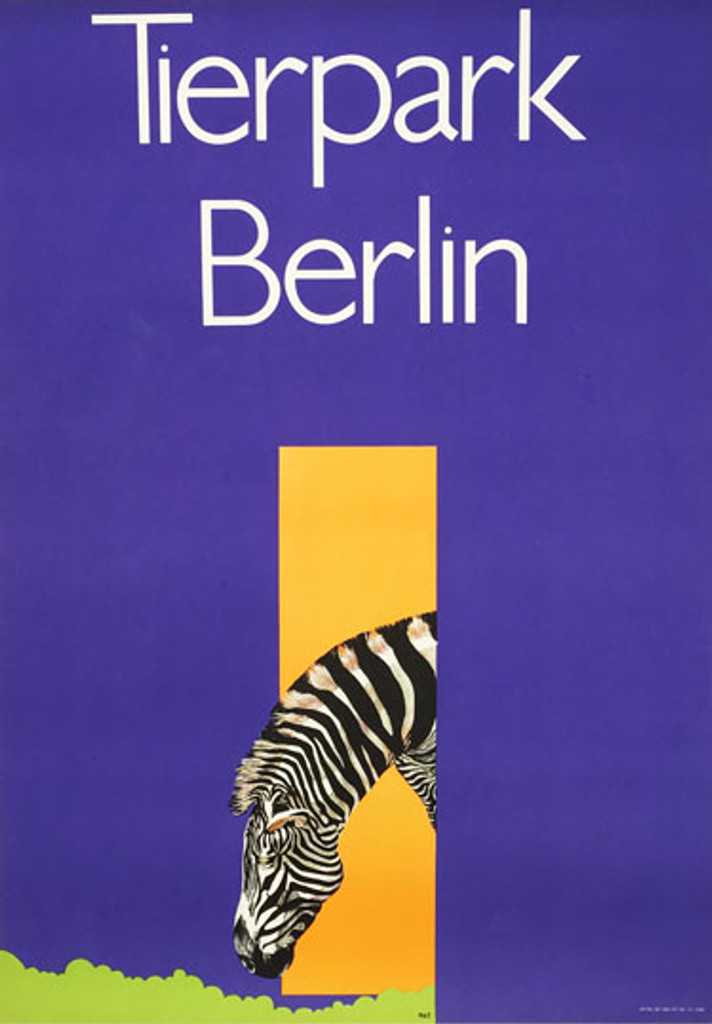 Tierpark Zoo Berlin original vintage travel poster from 1980 Germany by R & Z.