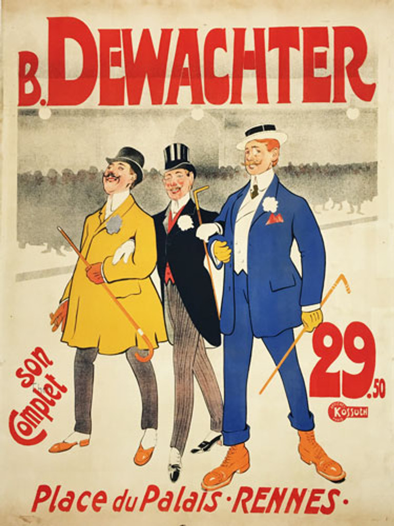 B Dewachter Place Du Palais Rennes original vintage product poster by Walter Thor from 1900 France.  French mens clothing company advertisement.