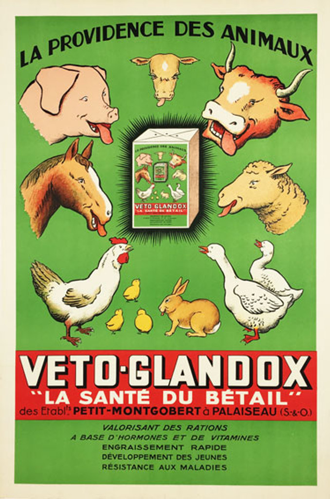 Veto Glandox Vitamines Betail original vintage poster from 1939 France.