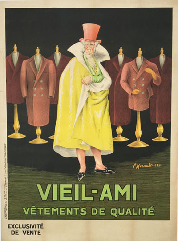 Vieil Ami Vetements De Qualite original vintage lithographic clothing advertisement from 1924 France by P. Herault