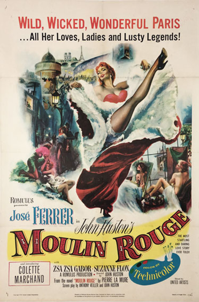 Moulin Rouge American One Sheet original vintage movie poster from 1953 US.