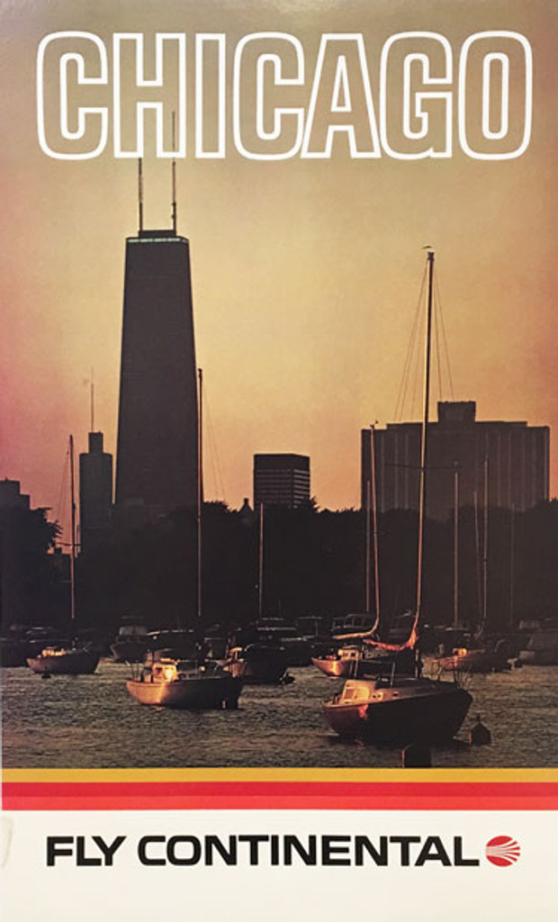 Chicago Fly Continental original 1978 lithographic travel  advertisement vintage poster.