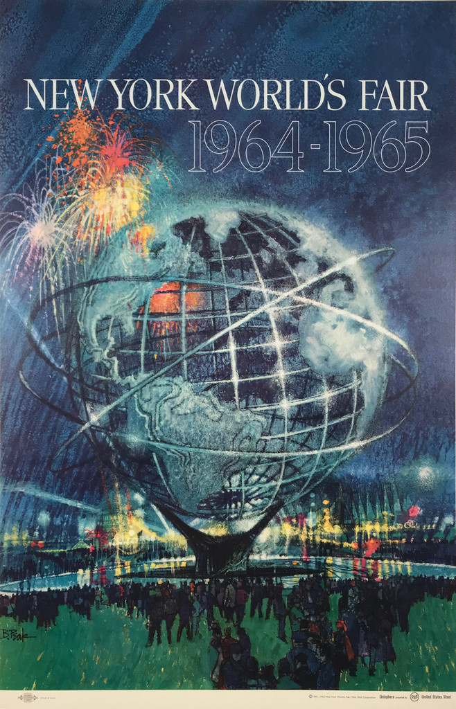 New York Worlds Fair Unisphere original American exhibition vintage poster from 1965 by B. Peak.